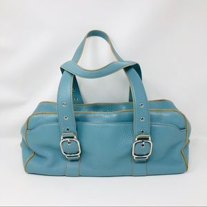 COLE HAAN teal blue leather purse
